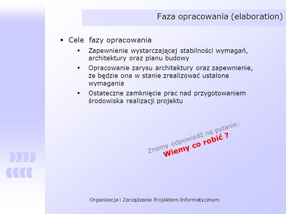 Organizacja i Zarządzanie Projektem Informatycznym Faza budowy systemu (construction) Cele fazy budowy Minimalizacja kosztów implementacji Osiągnięcie określonej jakości Opracowanie testowych wersji systemu (Alpha, Beta, i innych) Ustalenie momentu przekazania systemu do użytku Jest prawdą, że: System działa poprawnie przy założeniu określonego poziomu jakości.