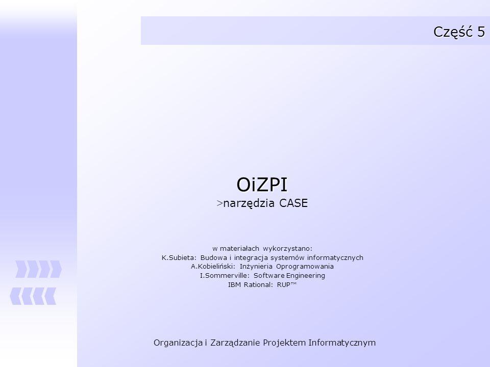 Organizacja i Zarządzanie Projektem Informatycznym Pozostałe moduły narzędzi CASE (2) Generatory kodu: Narzędzia służące do generacji kodu w rozmaitych językach programowania.
