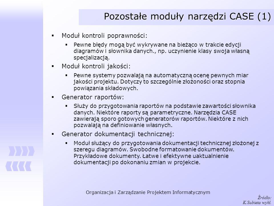 Organizacja i Zarządzanie Projektem Informatycznym Pozostałe moduły narzędzi CASE (1) Moduł kontroli poprawności: Pewne błędy mogą być wykrywane na bi