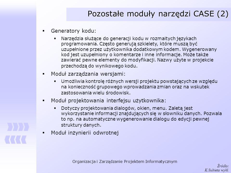 Organizacja i Zarządzanie Projektem Informatycznym Pozostałe moduły narzędzi CASE (2) Generatory kodu: Narzędzia służące do generacji kodu w rozmaityc