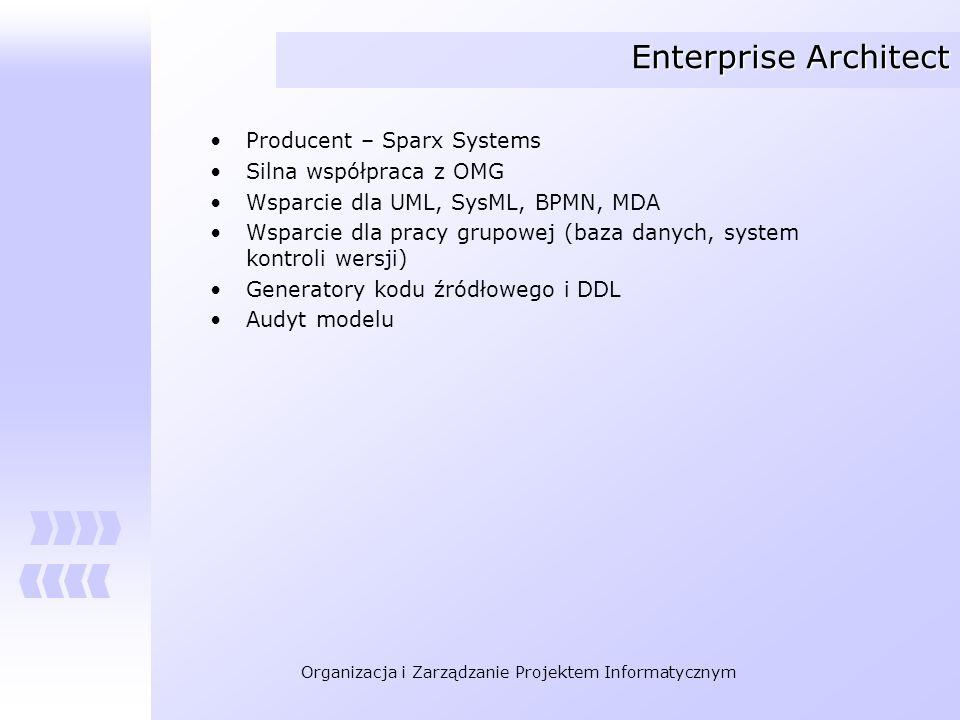 Organizacja i Zarządzanie Projektem Informatycznym Enterprise Architect Producent – Sparx Systems Silna współpraca z OMG Wsparcie dla UML, SysML, BPMN