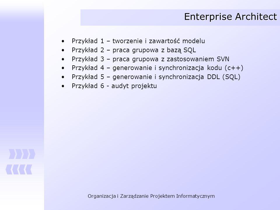 Organizacja i Zarządzanie Projektem Informatycznym Enterprise Architect Przykład 1 – tworzenie i zawartość modelu Przykład 2 – praca grupowa z bazą SQ