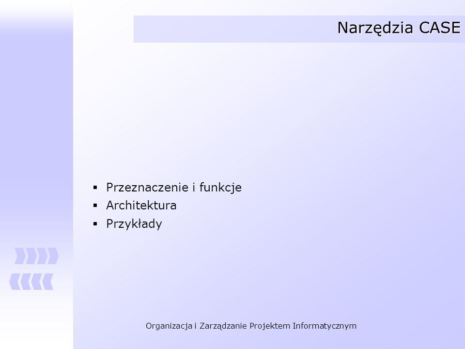 Organizacja i Zarządzanie Projektem Informatycznym Narzędzia CASE - definicje Tradycyjnie przez CASE rozumiało się narzędzia, które wspomagają ogólnie rozumiane wytwarzanie oprogramowania oraz koncentrują się na głównie na fazach analizy i projektowania oraz bezpośrednim wykorzystaniu wyników tych faz w implementacji.