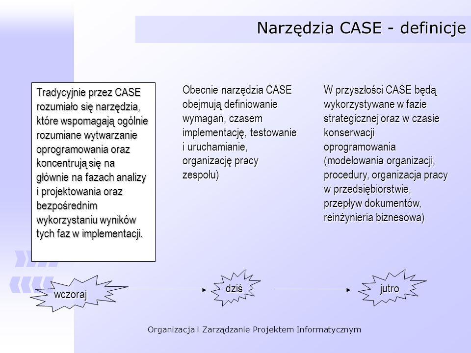Organizacja i Zarządzanie Projektem Informatycznym Narzędzia CASE - podział Narzędzia CASE upper-CASE – upper-CASE – wspomaganie wczesnych faz prac nad oprogramowaniem bez związku ze środowiskiem implementacyjnym lower-CASE lower-CASE wspomaganie faz projektowania i implementacji w ścisłym związku ze środowiskiem implementacji