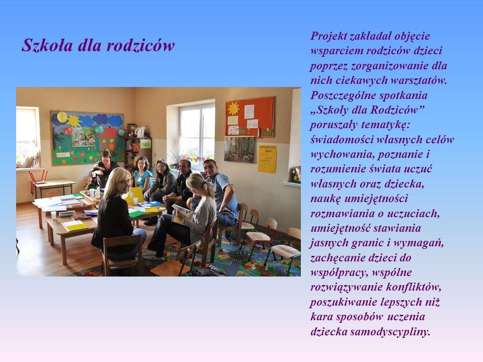 Szkoła dla rodziców Projekt zakładał objęcie wsparciem rodziców dzieci poprzez zorganizowanie dla nich ciekawych warsztatów. Poszczególne spotkania Sz