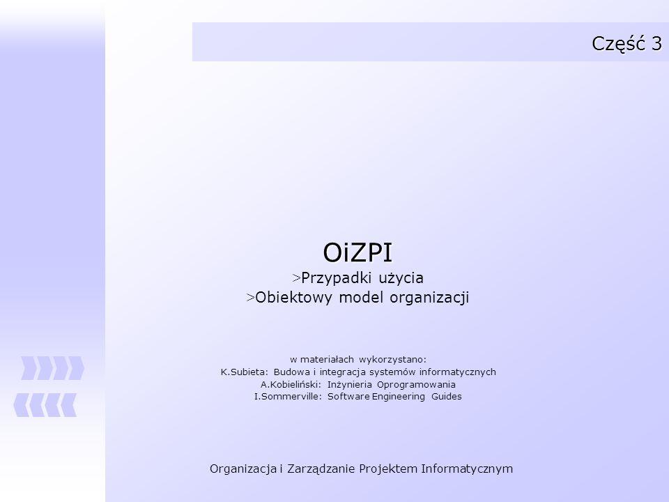 Organizacja i Zarządzanie Projektem Informatycznym Część 3 OiZPI > Przypadki użycia > Obiektowy model organizacji w materiałach wykorzystano: K.Subiet