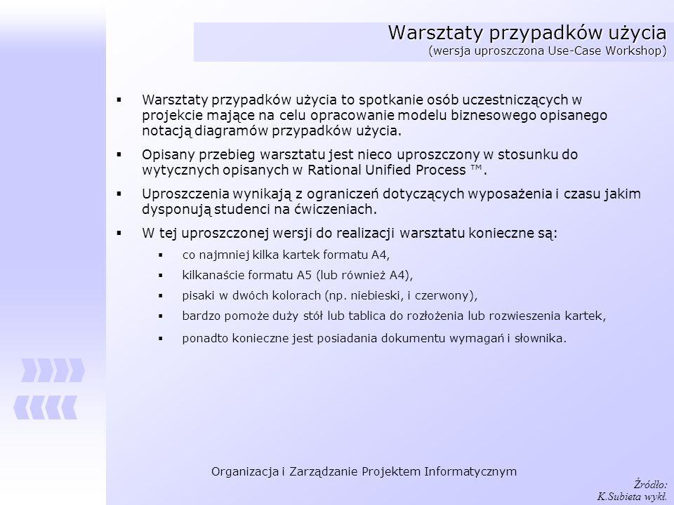 Organizacja i Zarządzanie Projektem Informatycznym Warsztaty przypadków użycia (wersja uproszczona Use-Case Workshop) Warsztaty przypadków użycia to s