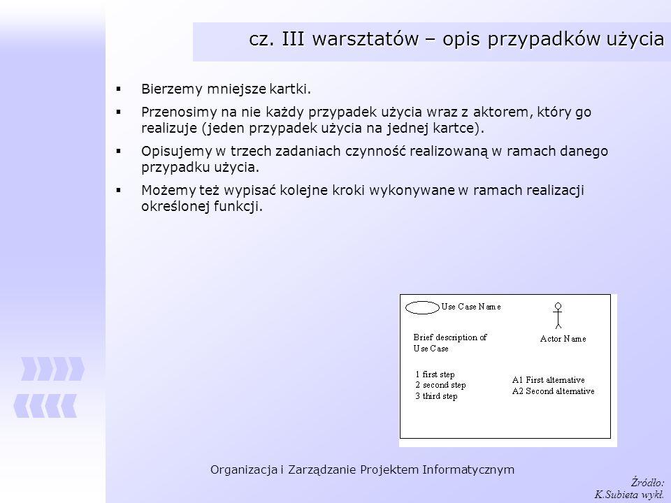 Organizacja i Zarządzanie Projektem Informatycznym cz. III warsztatów – opis przypadków użycia Bierzemy mniejsze kartki. Przenosimy na nie każdy przyp