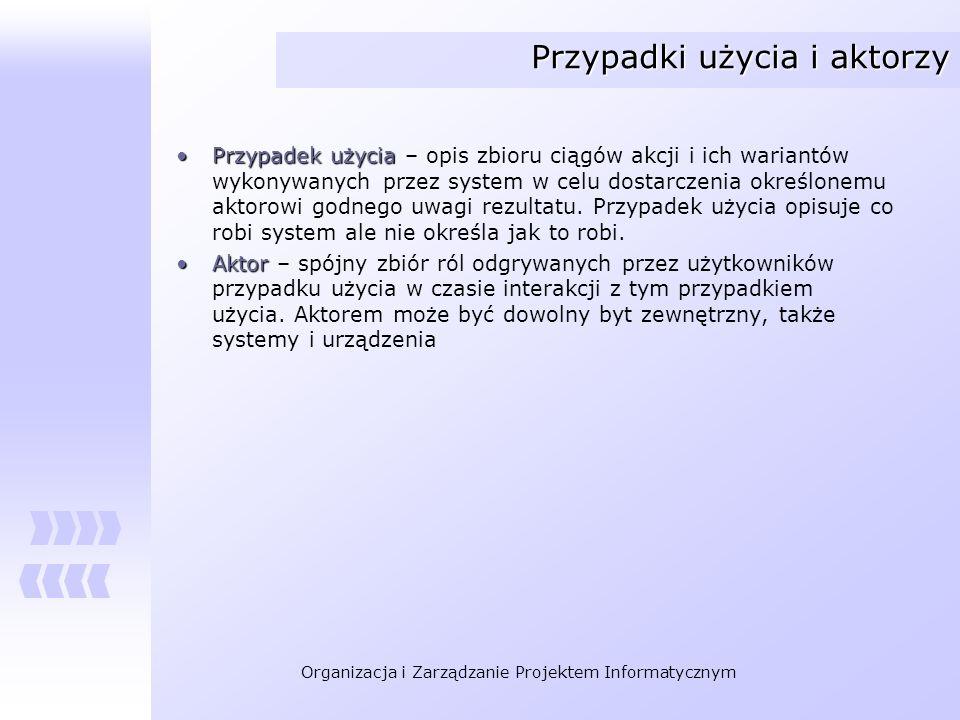 Organizacja i Zarządzanie Projektem Informatycznym Przypadki użycia i aktorzy Przypadek użyciaPrzypadek użycia – opis zbioru ciągów akcji i ich warian