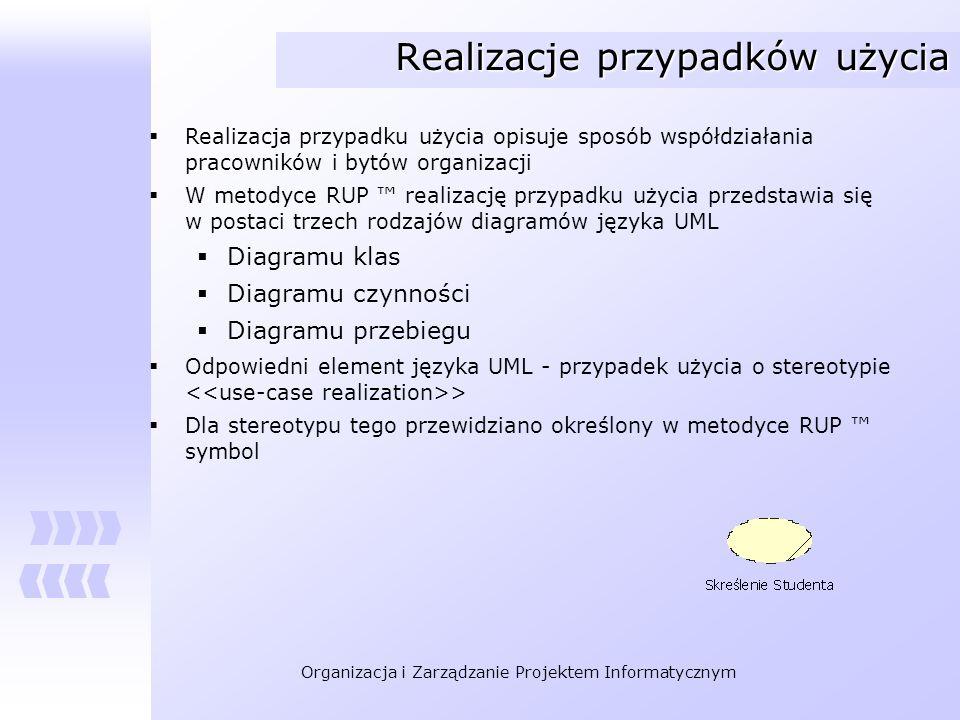 Organizacja i Zarządzanie Projektem Informatycznym Realizacje przypadków użycia Realizacja przypadku użycia opisuje sposób współdziałania pracowników