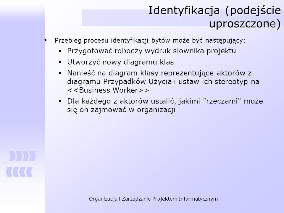Organizacja i Zarządzanie Projektem Informatycznym Identyfikacja (podejście uproszczone) Przebieg procesu identyfikacji bytów może być następujący: Pr
