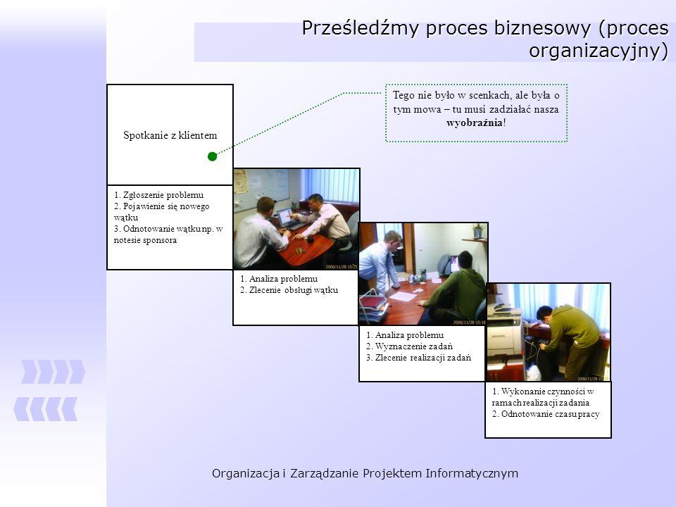 Organizacja i Zarządzanie Projektem Informatycznym Prześledźmy proces biznesowy (proces organizacyjny) 1. Analiza problemu 2. Zlecenie obsługi wątku 1