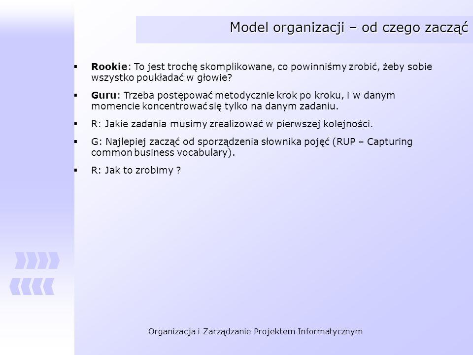 Organizacja i Zarządzanie Projektem Informatycznym Model organizacji – od czego zacząć Rookie: To jest trochę skomplikowane, co powinniśmy zrobić, żeb