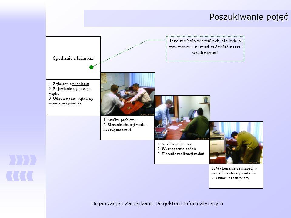Organizacja i Zarządzanie Projektem Informatycznym Poszukiwanie pojęć 1. Analiza problemu 2. Zlecenie obsługi wątku koordynatorowi 1. Analiza problemu