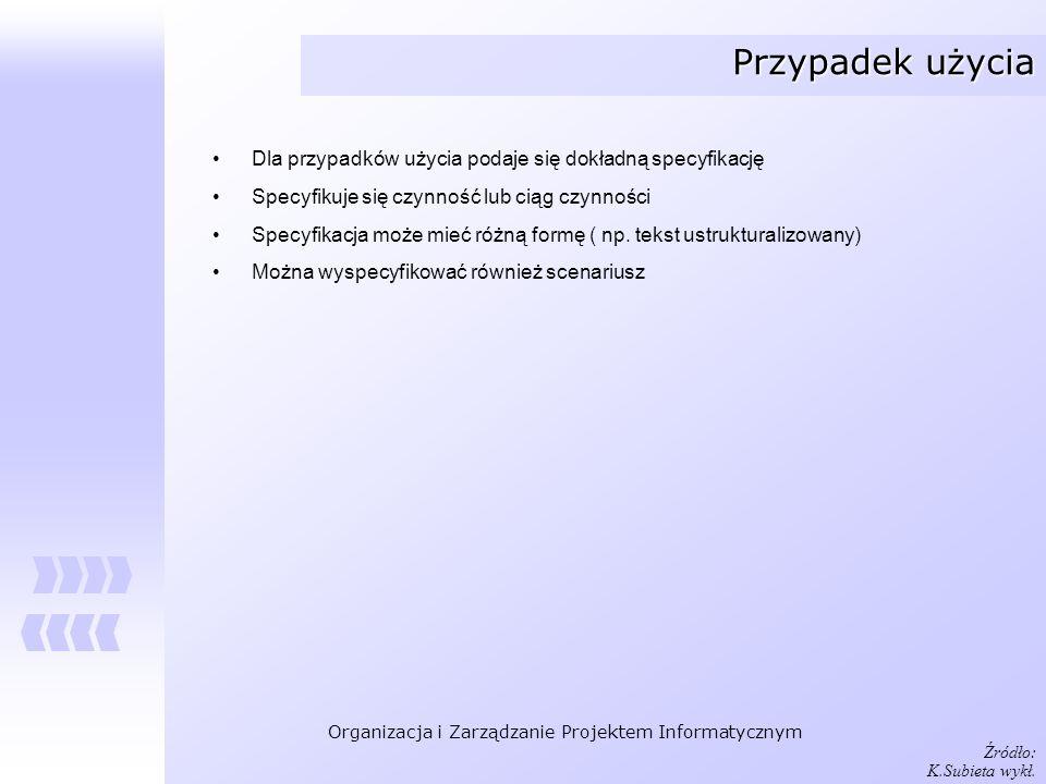 Organizacja i Zarządzanie Projektem Informatycznym Przypadek użycia Dla przypadków użycia podaje się dokładną specyfikację Specyfikuje się czynność lu