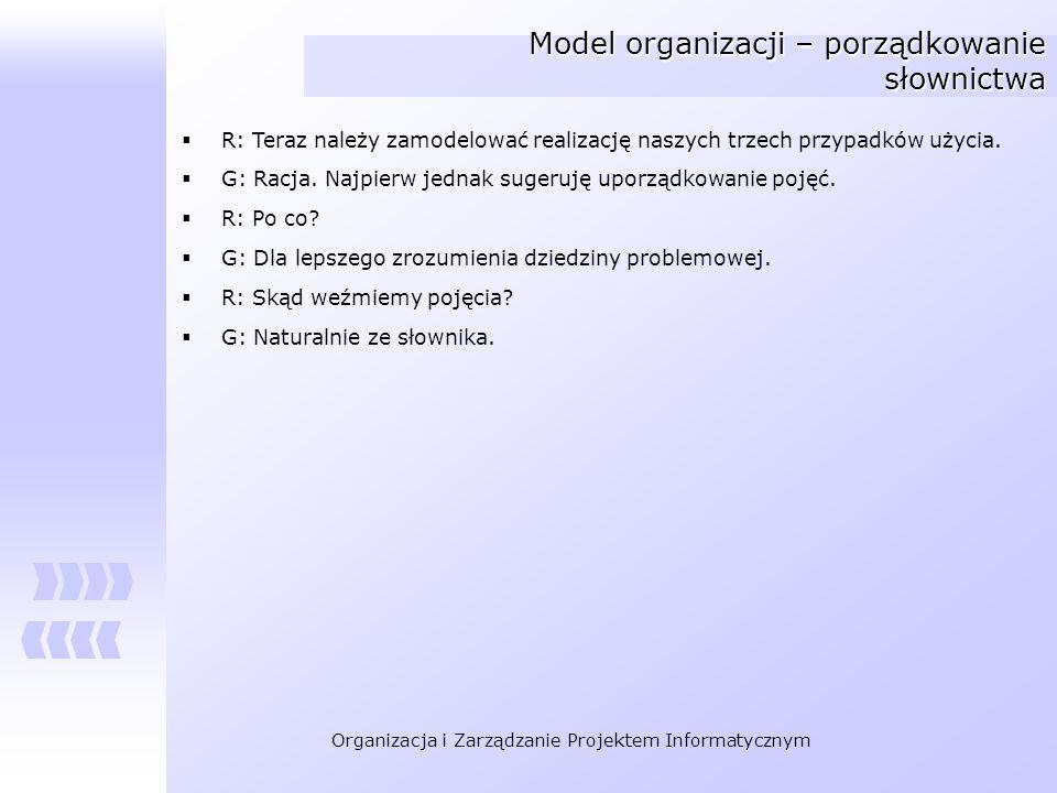 Organizacja i Zarządzanie Projektem Informatycznym Model organizacji – porządkowanie słownictwa R: Teraz należy zamodelować realizację naszych trzech