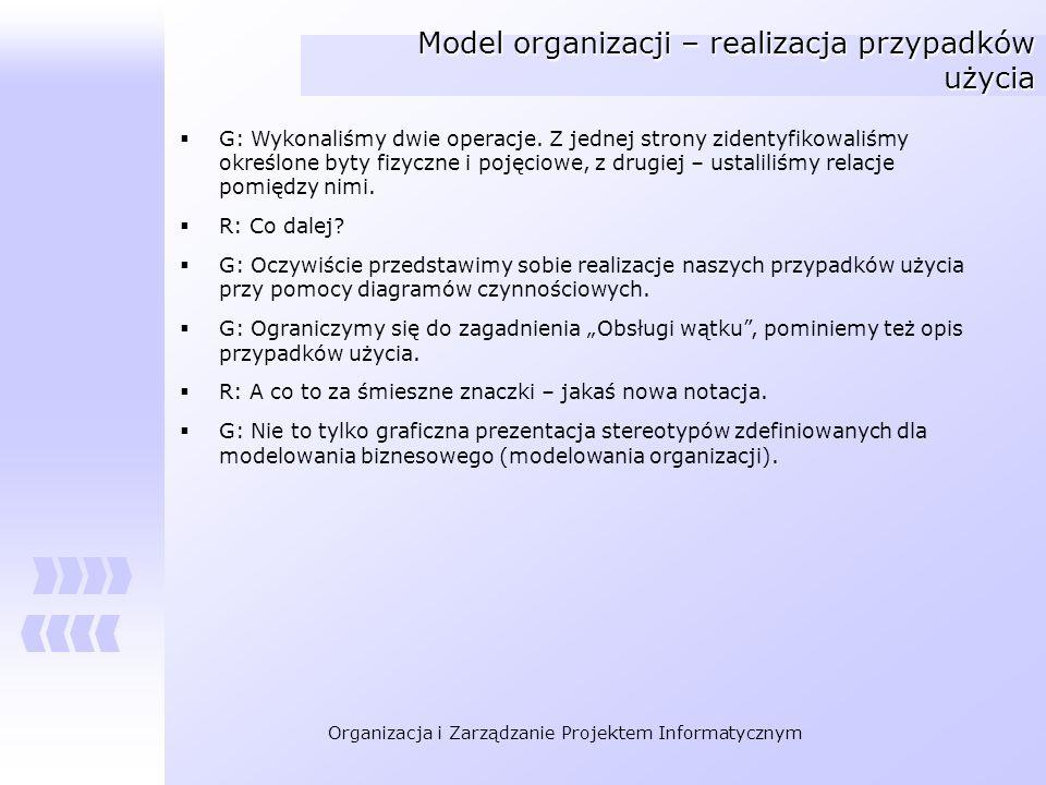 Organizacja i Zarządzanie Projektem Informatycznym Model organizacji – realizacja przypadków użycia G: Wykonaliśmy dwie operacje. Z jednej strony zide