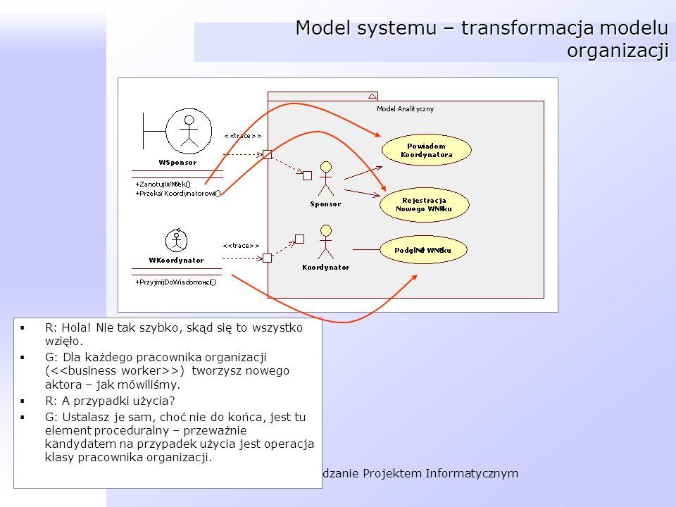 Organizacja i Zarządzanie Projektem Informatycznym Model systemu – transformacja modelu organizacji R: Hola! Nie tak szybko, skąd się to wszystko wzię