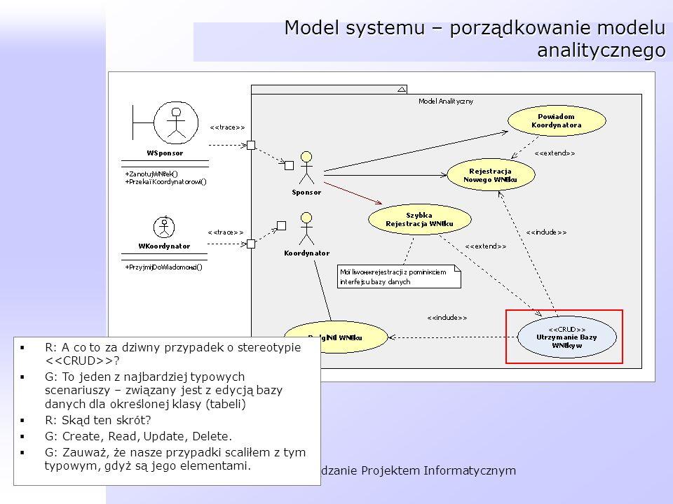 Organizacja i Zarządzanie Projektem Informatycznym Model systemu – porządkowanie modelu analitycznego R: A co to za dziwny przypadek o stereotypie >?