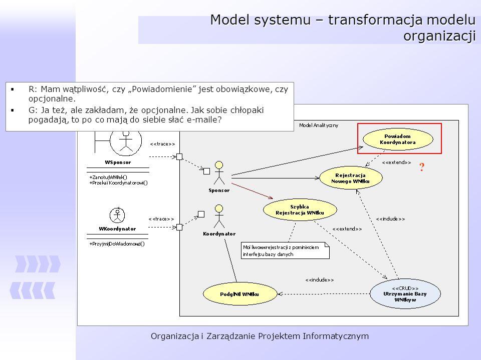 Organizacja i Zarządzanie Projektem Informatycznym Model systemu – transformacja modelu organizacji R: Mam wątpliwość, czy Powiadomienie jest obowiązk