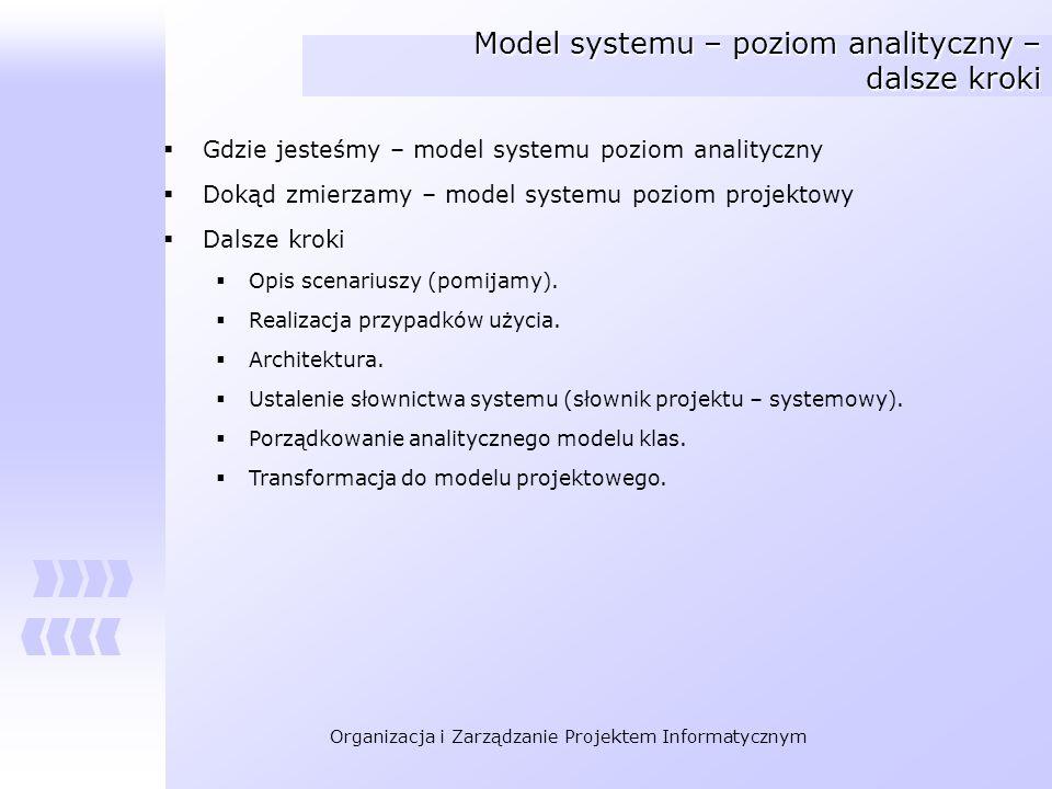 Organizacja i Zarządzanie Projektem Informatycznym Model systemu – poziom analityczny – dalsze kroki Gdzie jesteśmy – model systemu poziom analityczny