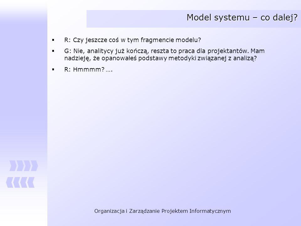 Organizacja i Zarządzanie Projektem Informatycznym Model systemu – co dalej? R: Czy jeszcze coś w tym fragmencie modelu? G: Nie, analitycy już kończą,