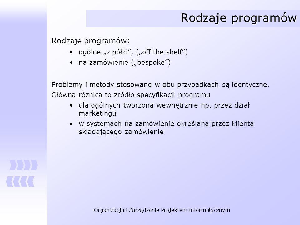 Organizacja i Zarządzanie Projektem Informatycznym Rodzaje programów Rodzaje programów: ogólne z półki, (off the shelf) na zamówienie (bespoke) Proble