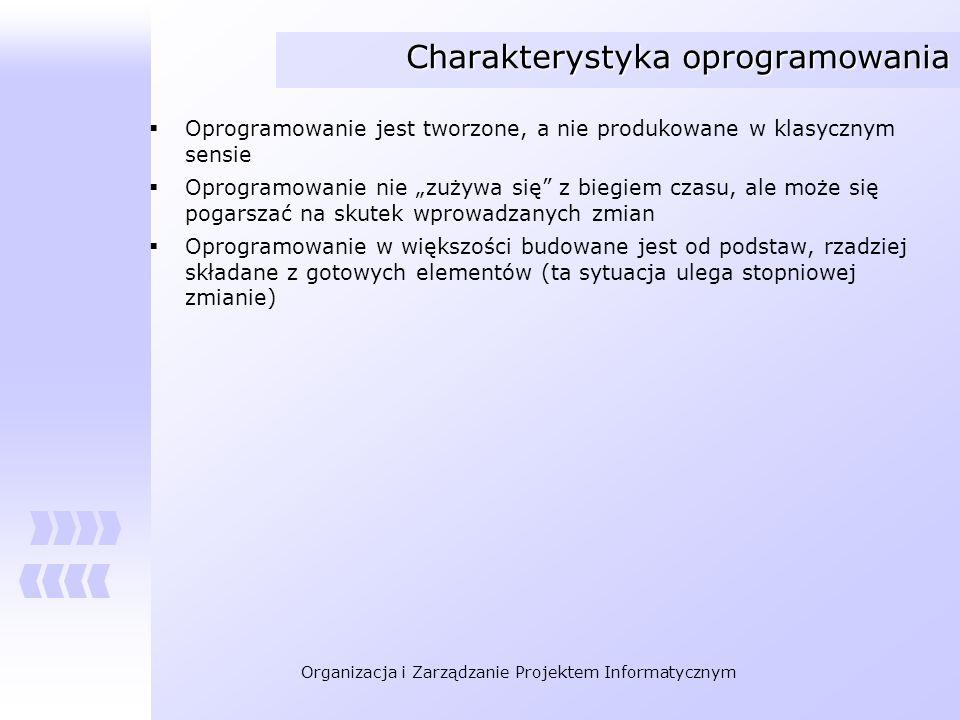 Organizacja i Zarządzanie Projektem Informatycznym Charakterystyka oprogramowania Oprogramowanie jest tworzone, a nie produkowane w klasycznym sensie