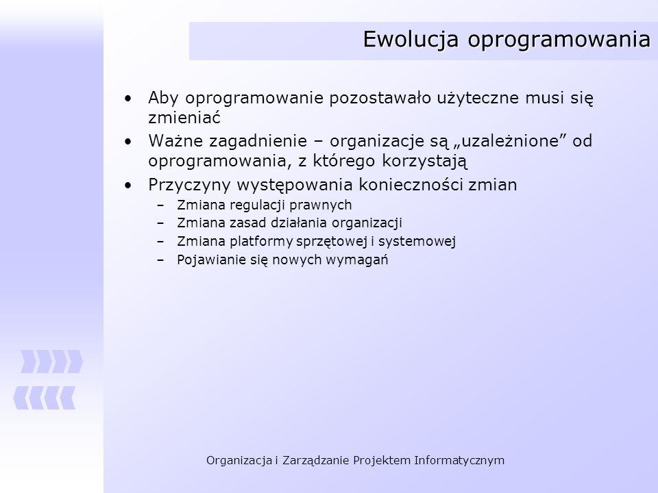 Organizacja i Zarządzanie Projektem Informatycznym Ewolucja oprogramowania Aby oprogramowanie pozostawało użyteczne musi się zmieniać Ważne zagadnieni