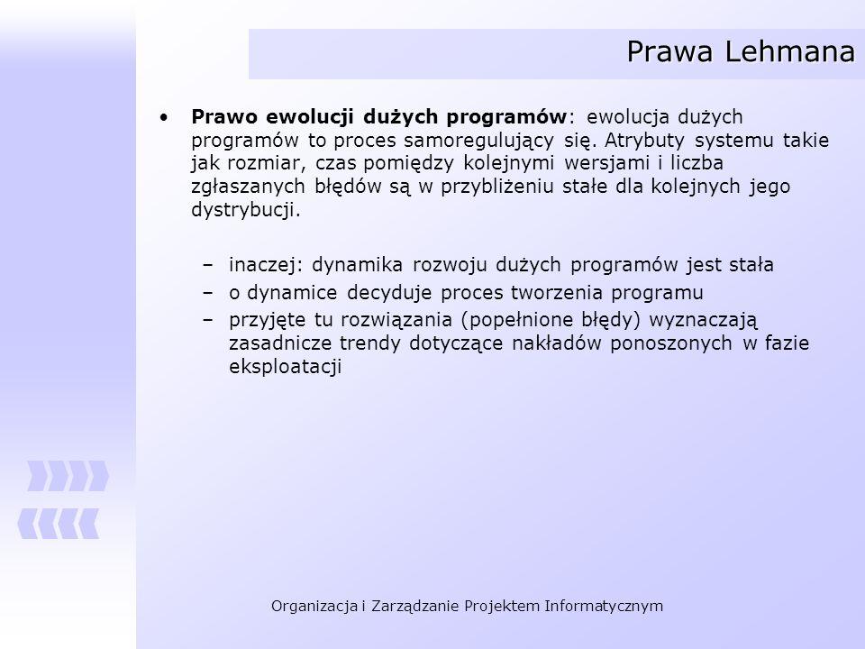 Organizacja i Zarządzanie Projektem Informatycznym Prawa Lehmana Prawo ewolucji dużych programów: ewolucja dużych programów to proces samoregulujący s
