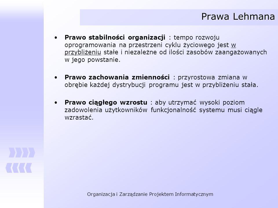 Organizacja i Zarządzanie Projektem Informatycznym Prawa Lehmana Prawo stabilności organizacji : tempo rozwoju oprogramowania na przestrzeni cyklu życ