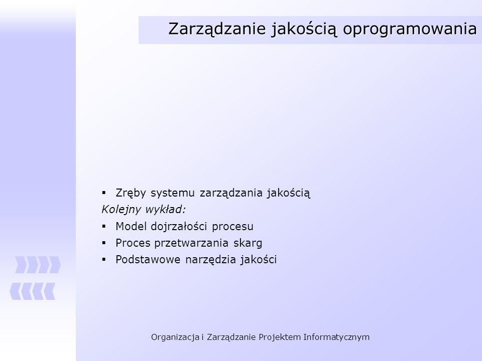 Organizacja i Zarządzanie Projektem Informatycznym Zarządzanie jakością oprogramowania Zręby systemu zarządzania jakością Kolejny wykład: Model dojrza