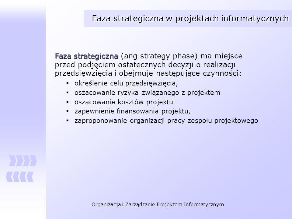Organizacja i Zarządzanie Projektem Informatycznym Faza strategiczna w projektach informatycznych Faza strategiczna Faza strategiczna (ang strategy ph