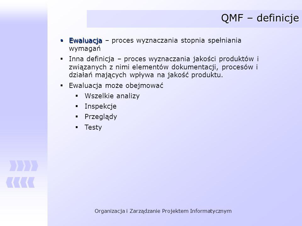 Organizacja i Zarządzanie Projektem Informatycznym QMF – definicje Ewaluacja Ewaluacja – proces wyznaczania stopnia spełniania wymagań Inna definicja