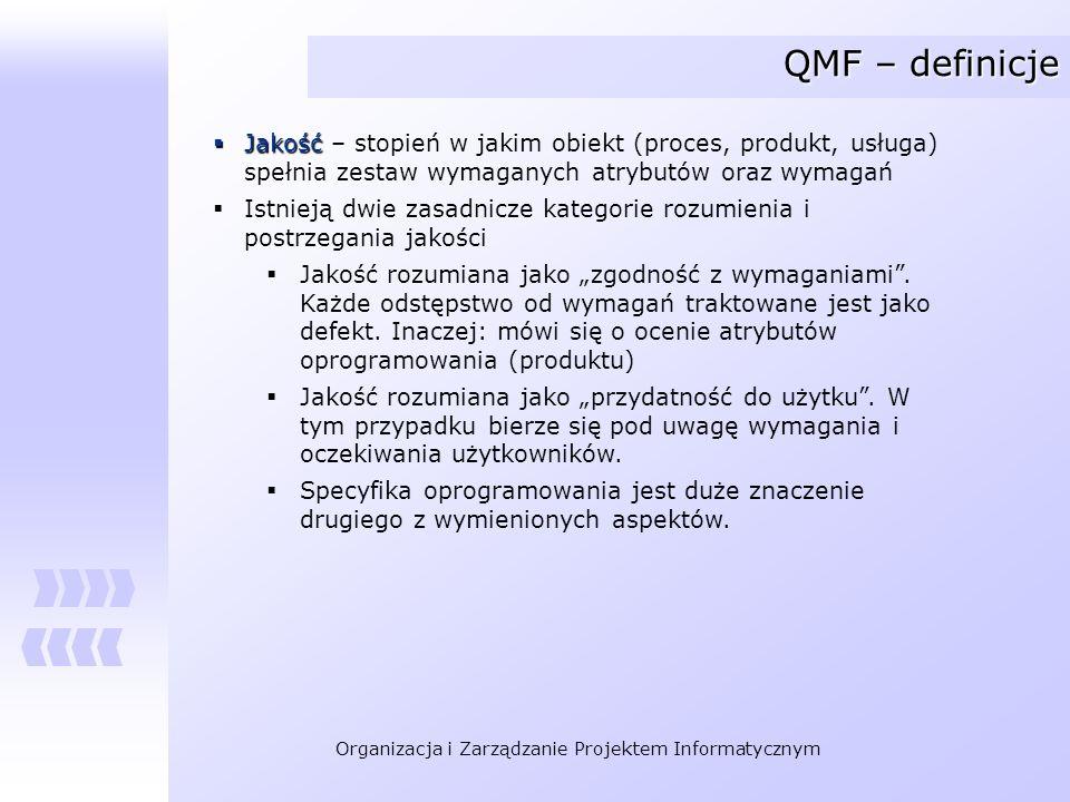 Organizacja i Zarządzanie Projektem Informatycznym QMF – definicje Jakość Jakość – stopień w jakim obiekt (proces, produkt, usługa) spełnia zestaw wym