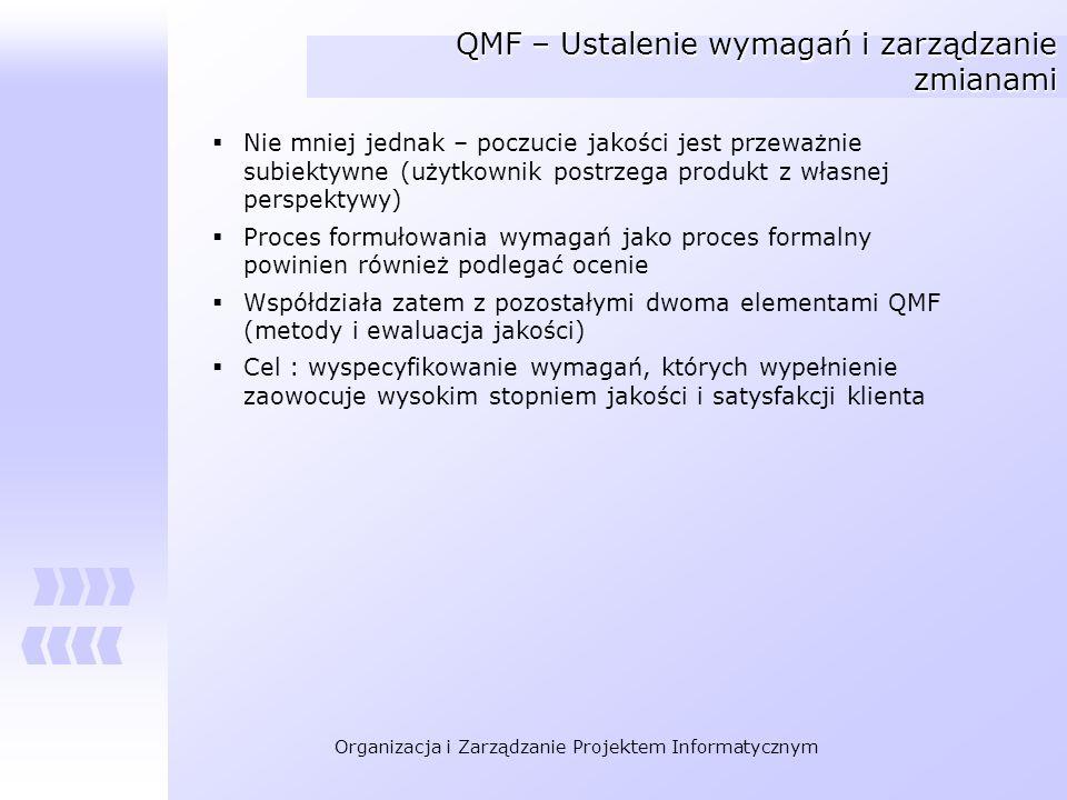 Organizacja i Zarządzanie Projektem Informatycznym QMF – Ustalenie wymagań i zarządzanie zmianami Nie mniej jednak – poczucie jakości jest przeważnie