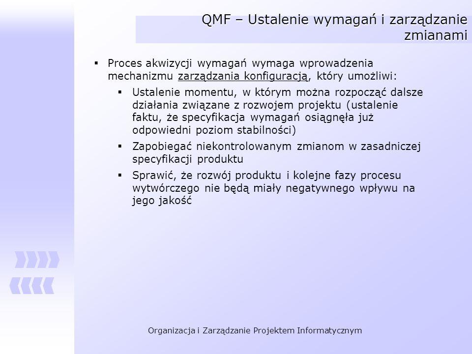 Organizacja i Zarządzanie Projektem Informatycznym QMF – Ustalenie wymagań i zarządzanie zmianami Proces akwizycji wymagań wymaga wprowadzenia mechani