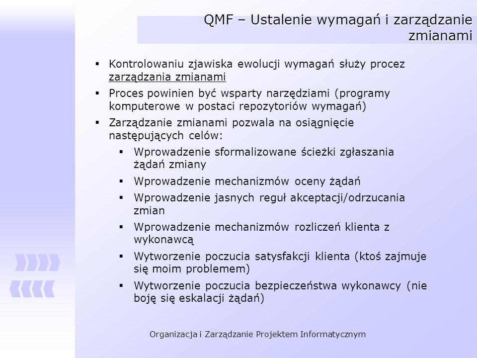 Organizacja i Zarządzanie Projektem Informatycznym QMF – Ustalenie wymagań i zarządzanie zmianami Kontrolowaniu zjawiska ewolucji wymagań służy procez