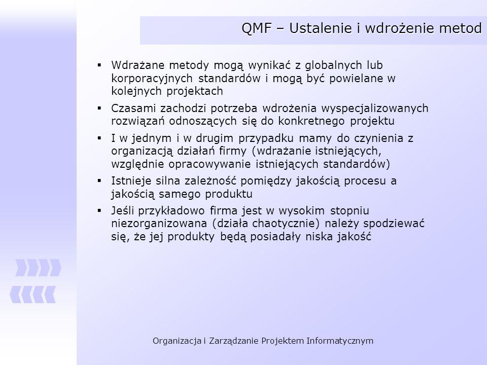 Organizacja i Zarządzanie Projektem Informatycznym QMF – Ustalenie i wdrożenie metod Wdrażane metody mogą wynikać z globalnych lub korporacyjnych stan