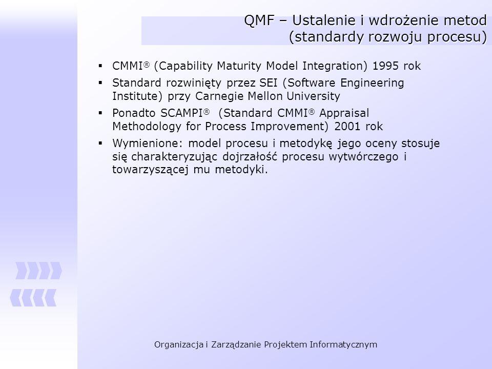 Organizacja i Zarządzanie Projektem Informatycznym QMF – Ustalenie i wdrożenie metod (standardy rozwoju procesu) CMMI ® (Capability Maturity Model Int