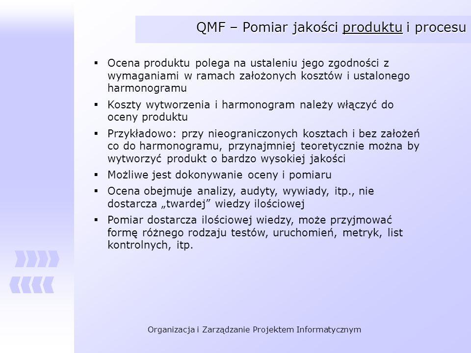 Organizacja i Zarządzanie Projektem Informatycznym QMF – Pomiar jakości produktu i procesu Ocena produktu polega na ustaleniu jego zgodności z wymagan