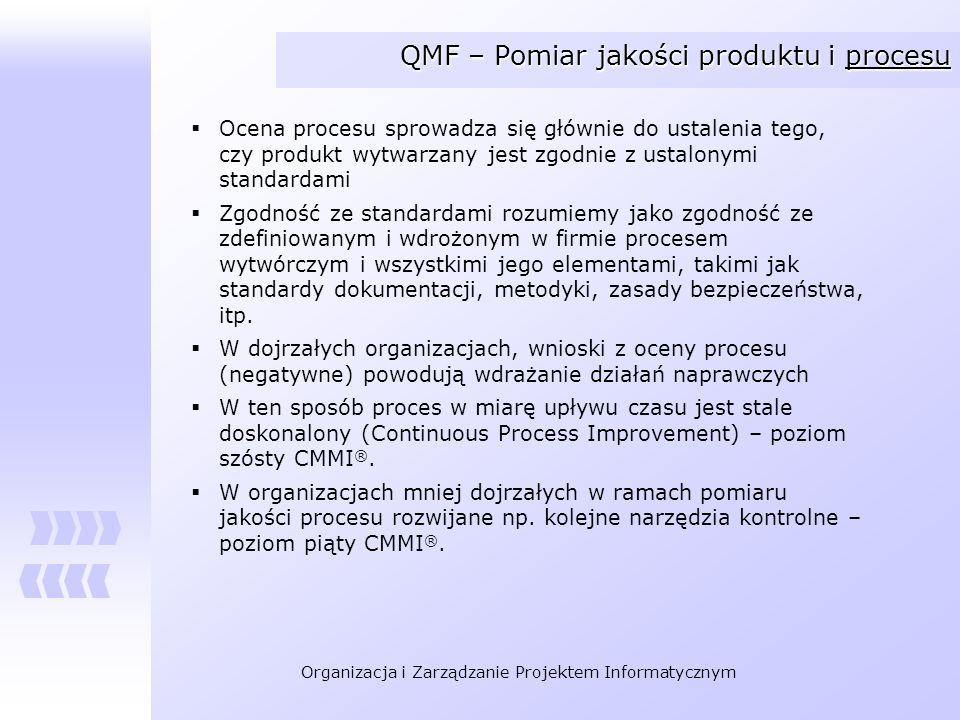 Organizacja i Zarządzanie Projektem Informatycznym QMF – Pomiar jakości produktu i procesu Ocena procesu sprowadza się głównie do ustalenia tego, czy