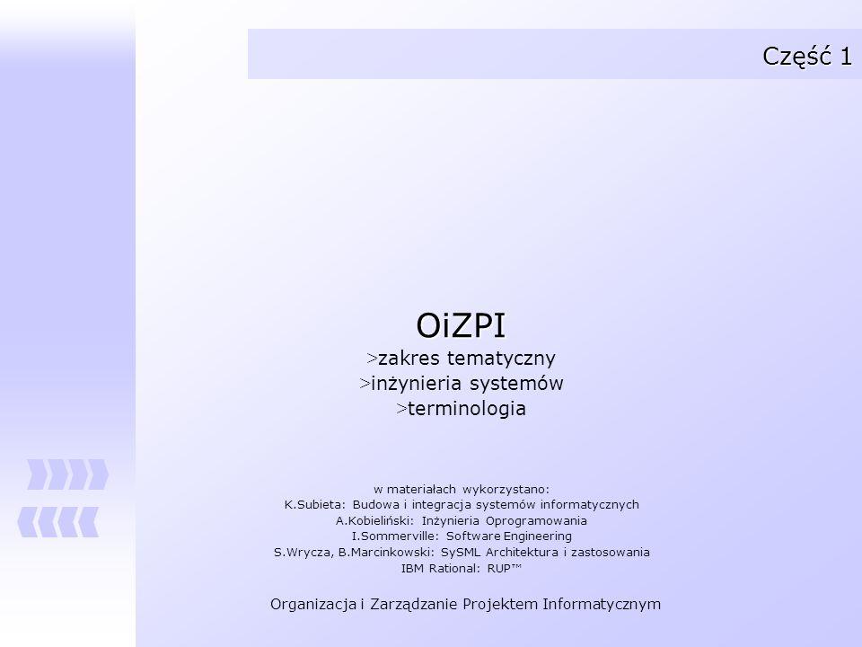 Organizacja i Zarządzanie Projektem Informatycznym Część 1 OiZPI > zakres tematyczny > inżynieria systemów > terminologia w materiałach wykorzystano: