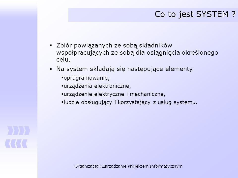 Organizacja i Zarządzanie Projektem Informatycznym Co to jest SYSTEM ? Zbiór powiązanych ze sobą składników współpracujących ze sobą dla osiągnięcia o