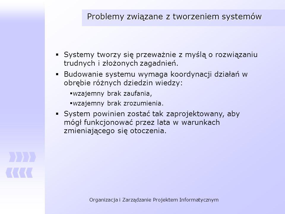 Organizacja i Zarządzanie Projektem Informatycznym Problemy związane z tworzeniem systemów Systemy tworzy się przeważnie z myślą o rozwiązaniu trudnyc