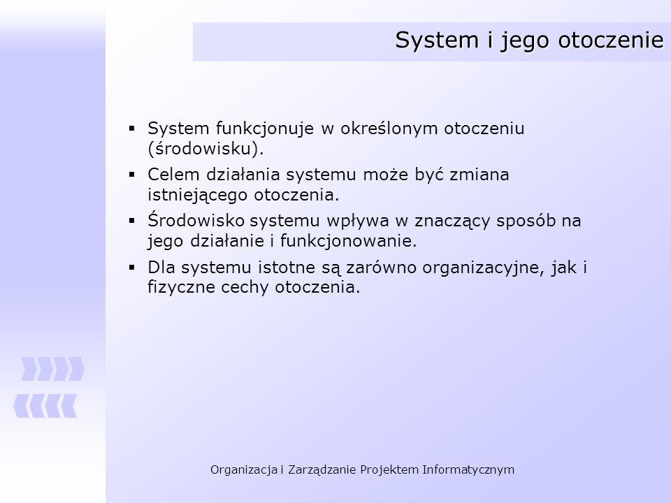Organizacja i Zarządzanie Projektem Informatycznym System i jego otoczenie System funkcjonuje w określonym otoczeniu (środowisku). Celem działania sys