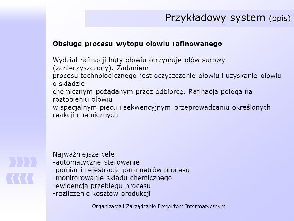 Organizacja i Zarządzanie Projektem Informatycznym Przykładowy system (opis) Obsługa procesu wytopu ołowiu rafinowanego Wydział rafinacji huty ołowiu