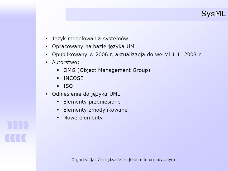 Organizacja i Zarządzanie Projektem Informatycznym SysML Język modelowania systemów Opracowany na bazie języka UML Opublikowany w 2006 r, aktualizacja