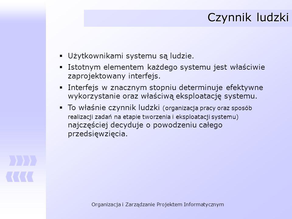 Organizacja i Zarządzanie Projektem Informatycznym Czynnik ludzki Użytkownikami systemu są ludzie. Istotnym elementem każdego systemu jest właściwie z