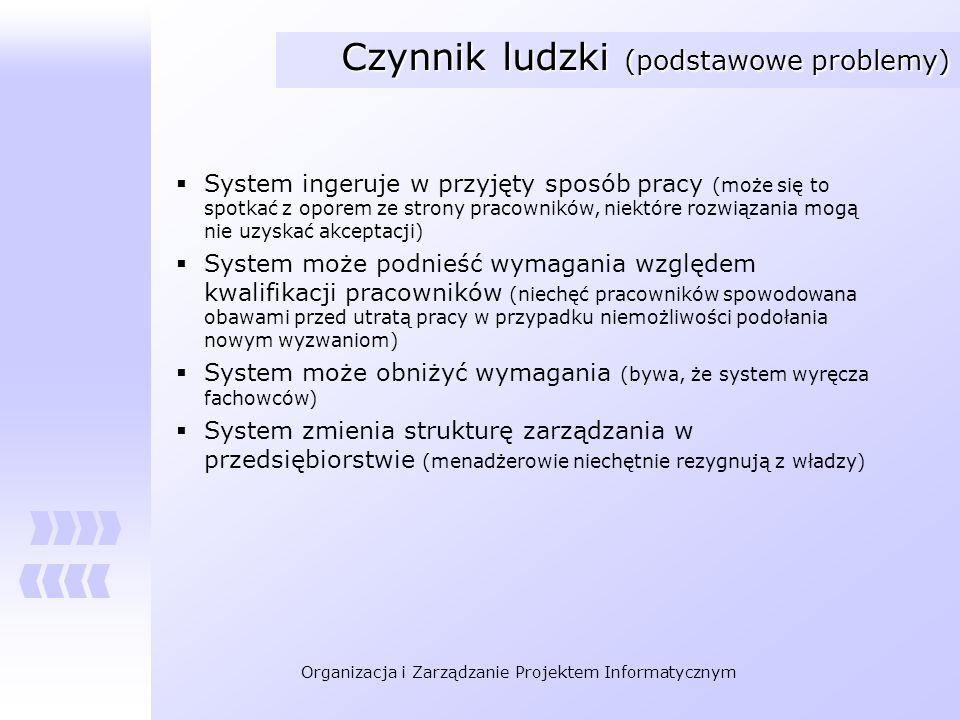 Organizacja i Zarządzanie Projektem Informatycznym Czynnik ludzki (podstawowe problemy) System ingeruje w przyjęty sposób pracy (może się to spotkać z
